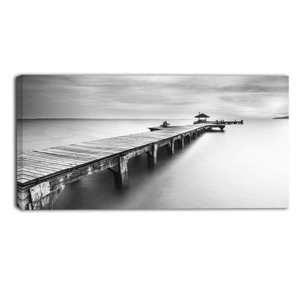 Wooden Sea Bridge Seascape Photographic Print on Wrapped Canvas by Design Art