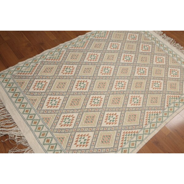 One-of-a-Kind Samito Flat Pile Hand-Woven Ivory Area Rug by August Grove