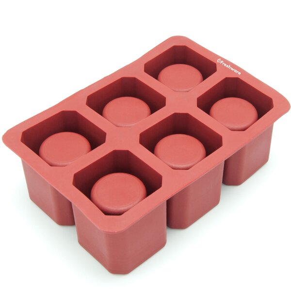 6 Cavity Square Ice Shot Glass Silicone Mold Pan by Freshware
