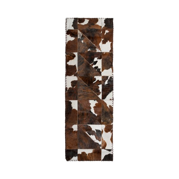 Danwood Stitch Hand-Woven Cowhide White/Chocolate Area Rug by Loon Peak