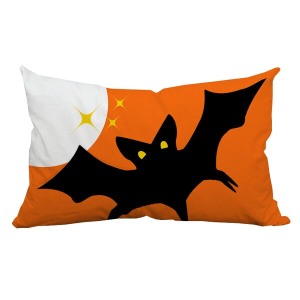 Holiday Treasures Scary Night Bat Indoor/Outdoor Lumbar Pillow by Positively Home