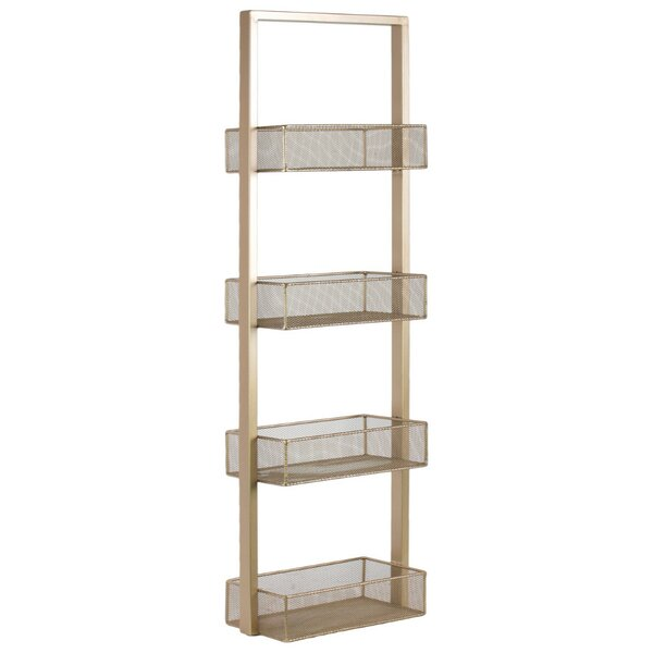 39.75 H x 12.25 W Strong Alluring Iron Shelving Unit with 4 Wire Mesh Bins by Benzara