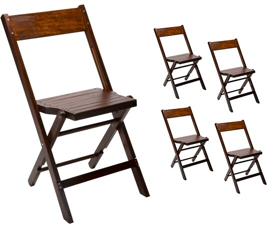 Vintage Stadium Wood Folding Chair (Set of 5) by Event Equipment Sales