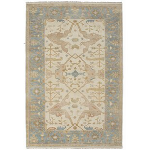 One-of-a-Kind Doggett Hand-Knotted Cream/Gray Area Rug by Isabelline