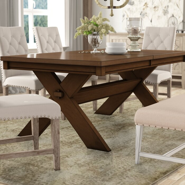 Isabell Acacia Butterfly Leaf Extendable Solid Wood Dining Table