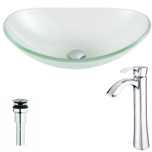 Forza Glass Oval Vessel Bathroom Sink with Faucet