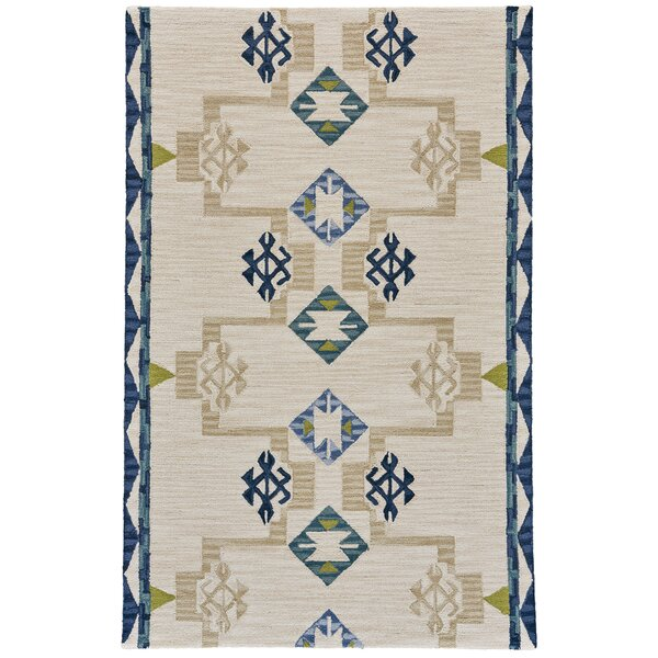 Pacifica Hand-Tufted Blue/Natural Area Rug by Bungalow Rose