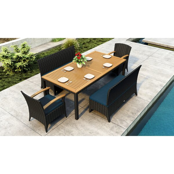 Aisha 5 Piece Teak Sunbrella Dining Set with Cushions by Brayden Studio