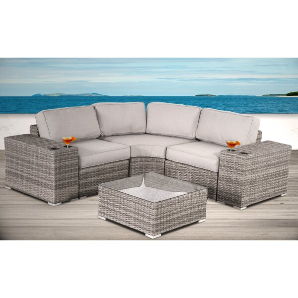 Hoyle 6 Piece Rattan Sectional Seating Group with Cushions by Rosecliff Heights