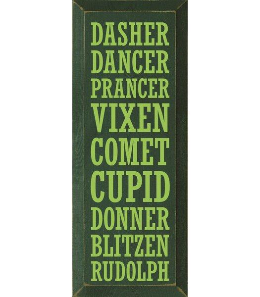 Dasher-Dancer-Prancer-Vixen-Comet-Cupid-Donner-Blitzen-Rudolph Textual Art Plaque by Sawdust City