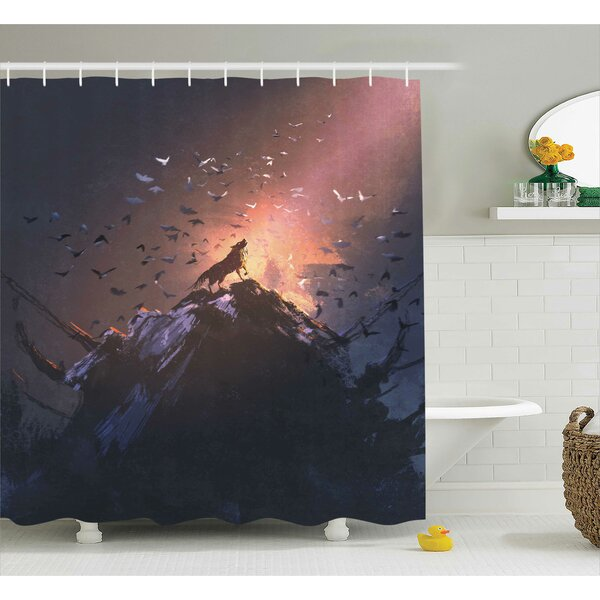 Fantasy World Howling Wolf on Rock Surround By Bats Birds Scary Dog Wild Life Animals Art Shower Curtain by Ambesonne