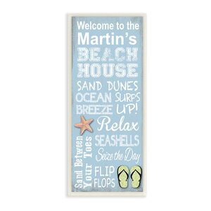 Personalized Beach House Starfish and Sandals by Janet White Graphic Art Plaque by Stupell Industries