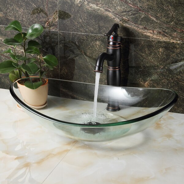 Tempered Glass Oval Vessel Bathroom Sink by Elite