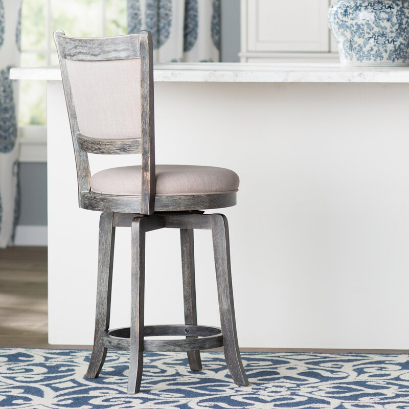 "Grey Kitchen Bar Stools: Topeka 24"" Swivel Bar Stool & Reviews"