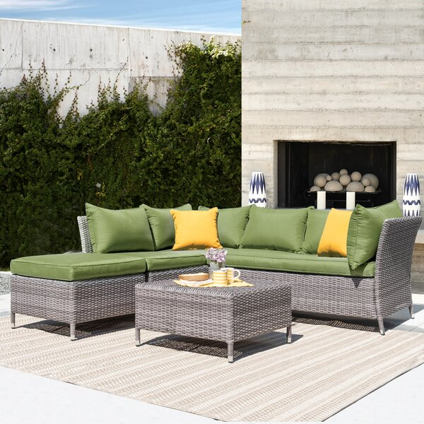 Ellenburg 4 Piece Rattan Sectional Seating Group with Cushions