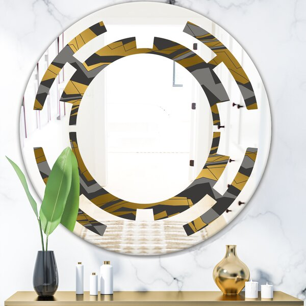 Space Angled Lines and Waves Pattern Modern Frameless Wall Mirror