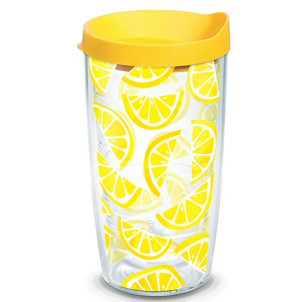 Eat Drink Be Merry Lemon Trend Plastic Travel Tumbler by Tervis Tumbler