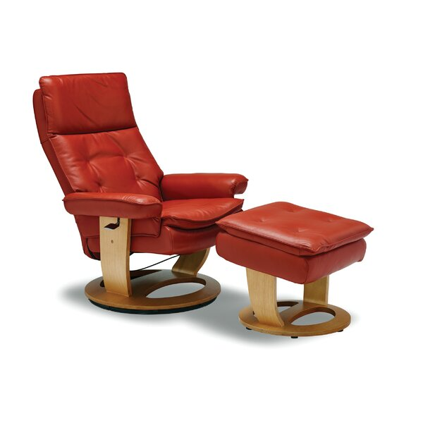 Larkins Leather Manual Recliner with Ottoman by Latitude Run