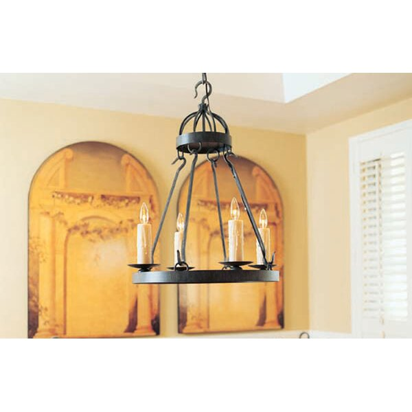 Lakeshore 4-Light Candle Style Wagon Wheel Chandelier by 2nd Ave Design 2nd Ave Design