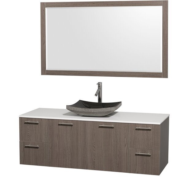 Amare 60 Single Gray Oak Bathroom Vanity Set with Mirror by Wyndham Collection