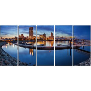 Milwaukee Panoramic View 5 Piece Photographic Print on Wrapped Canvas Set by Design Art