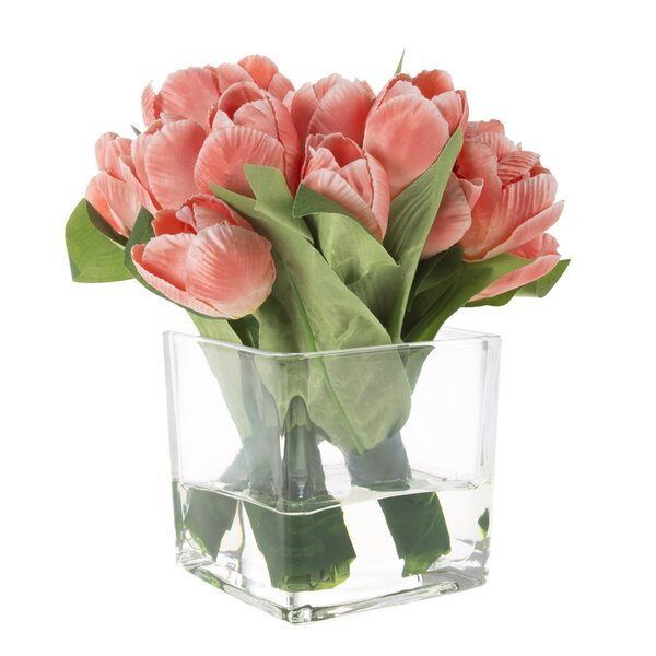 Tulip Floral Arrangement in Glass Vase by August G