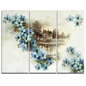 Blue Flowers Illustration - 3 Piece Graphic Art on Wrapped Canvas Set by Design Art