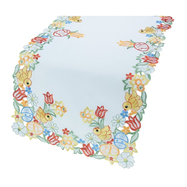 Spring Chicks Embroidered Cutwork Easter Table Runner by Xia Home Fashions