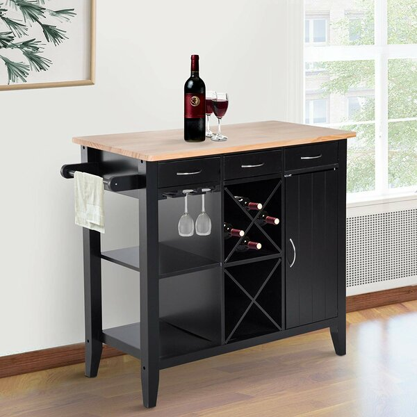 Ham Kitchen Island with Butcher Block Top by Winston Porter