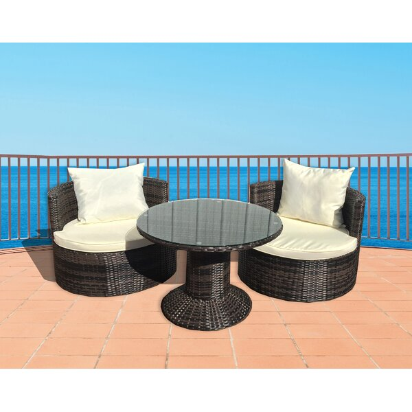 Geo Vino 3 Piece Sunbrella Conversation Set with Cushions by Deeco