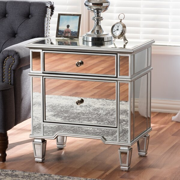 Beglin Hollywood Regency Glamour Style Mirrored 2 Drawer Nightstand by House of Hampton