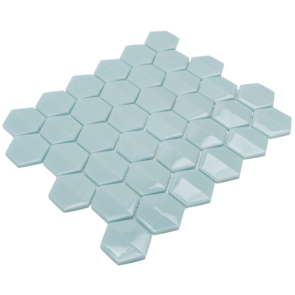 Recoup 11.75 x 10.75 Glass Mosaic Tile in Green by Splashback Tile
