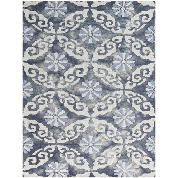 Bertina Hand Tufted White/Sky Blue/Spruce Blue Area Rug by Bloomsbury Market