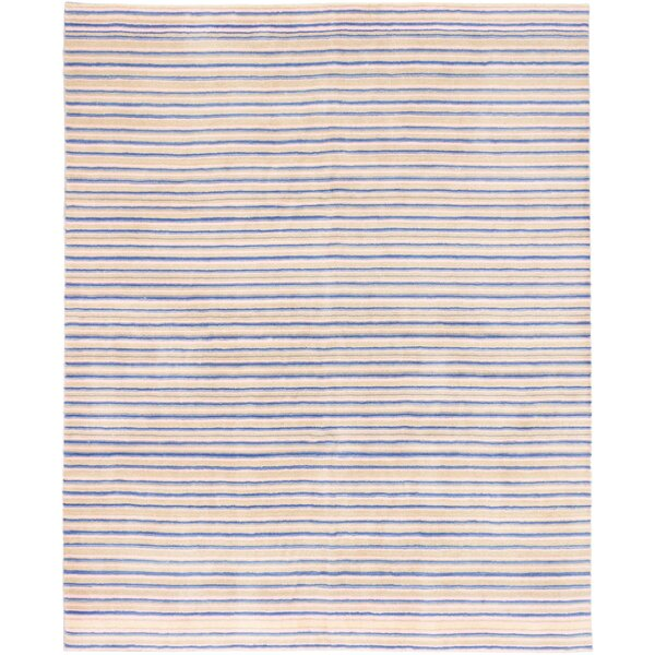Chapa Hand-Knotted Wool Dark Blue/Beige Area Rug by Highland Dunes