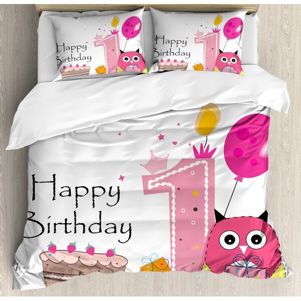 1st Birthday Decorations First Birthday Cake Candle Sketchy Cartoon Owl Image Duvet Set by Ambesonne