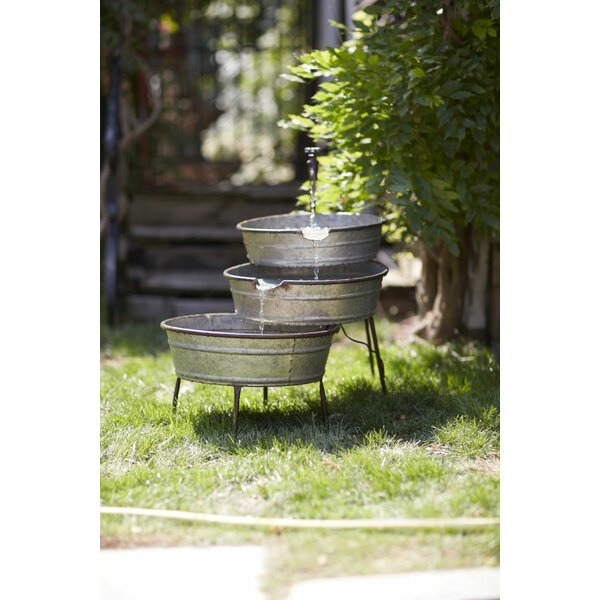 Fountain with Metal Tubs by Melrose International