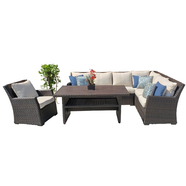 Bowie 3 Piece Sectional Seating Group with Cushions by Highland Dunes