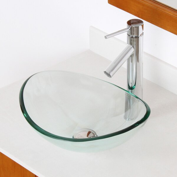 Mini Tempered Glass Oval Vessel Bathroom Sink by Elite