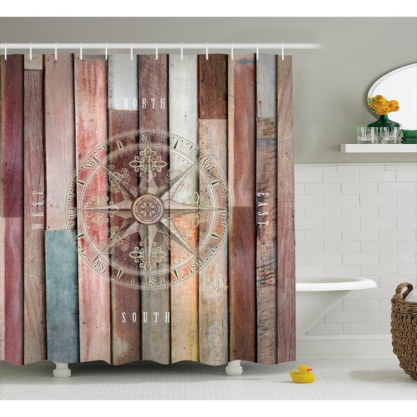 Edinburg Navy Sea Life Yacht Theme Colored Wood Backdrop With Rudder Like Compass Image Shower Curtain by Longshore Tides
