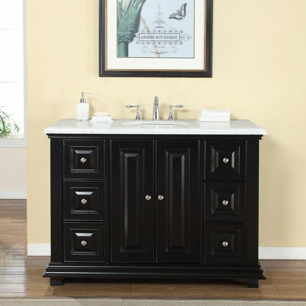 48 Single Sink Bathroom White Marble Vanity Set by Darby Home Co
