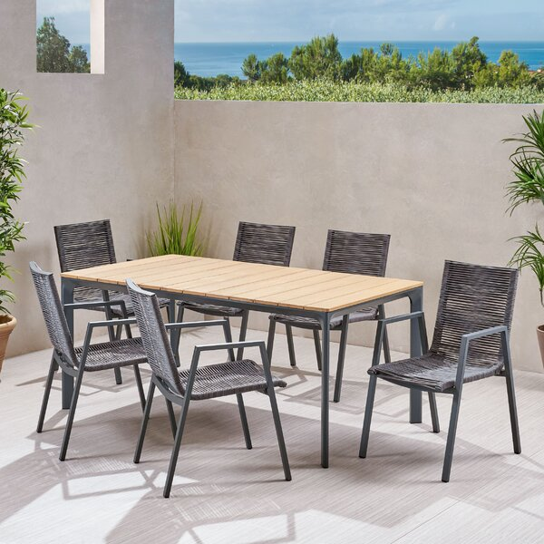 Detroit Outdoor 7 Piece Dining Set by Ivy Bronx