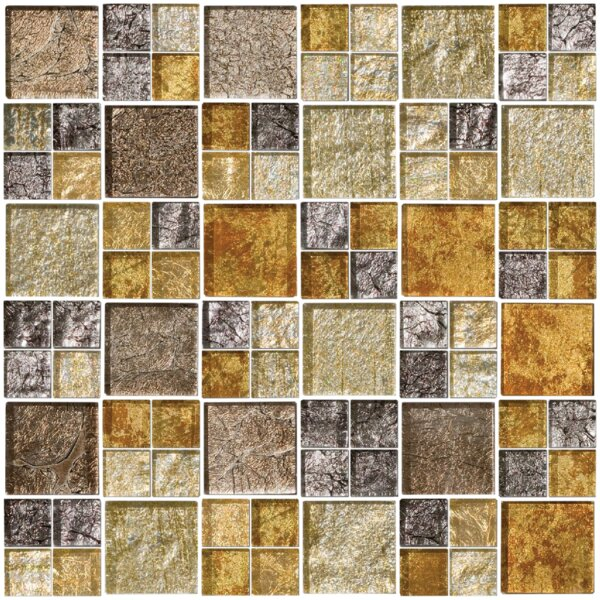Signature Line Glass Mosaic Tile in Gray/Gold by Susan Jablon