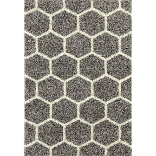 Klingensmith Honeycomb Shag Gray Area Rug by Winston Porter
