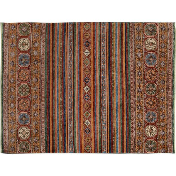 Baldwin Park Hand-Knotted Wool Red/Blue Geometric Area Rug by Bloomsbury Market