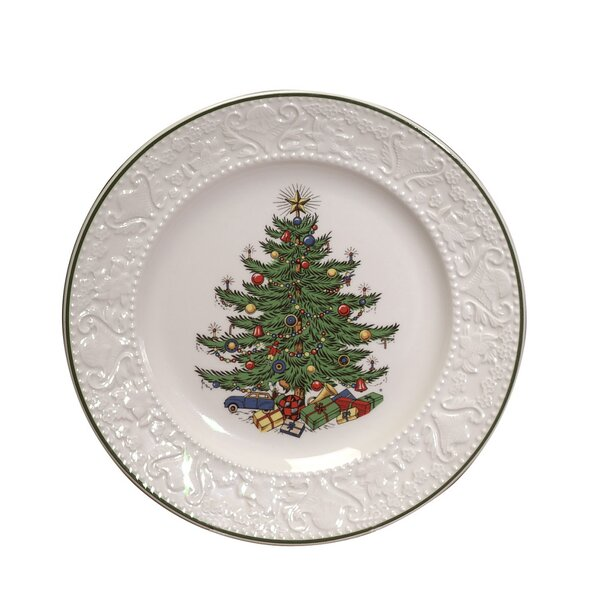 Original Christmas Tree Dickens Embossed 8.25 Salad Plate by The Holiday Aisle