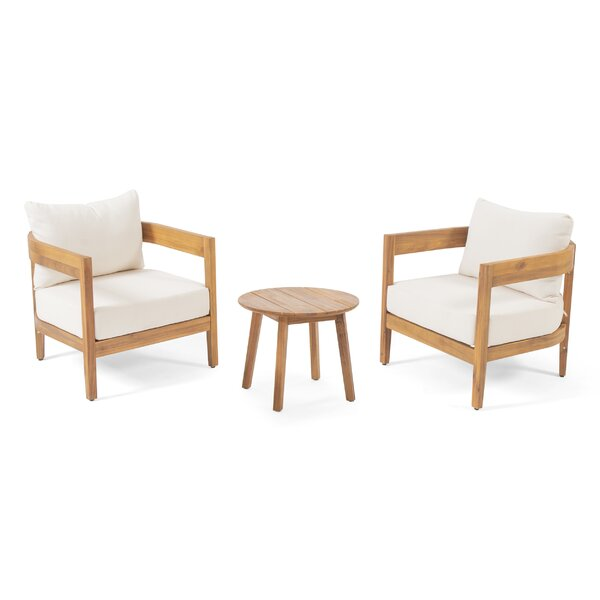 Vita Outdoor 3 Piece Seating Group with Cushions by George Oliver