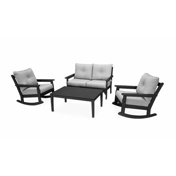 Vineyard 4 Piece Sunbrella Multiple Chairs Seating Group with Cushion by POLYWOOD®