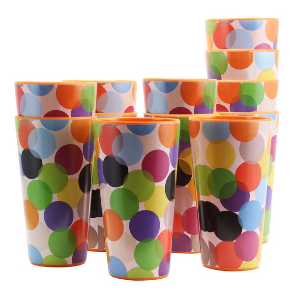 Keziah Party Circles 20 oz. Melamine Every Day Glasses (Set of 12) by Latitude Run