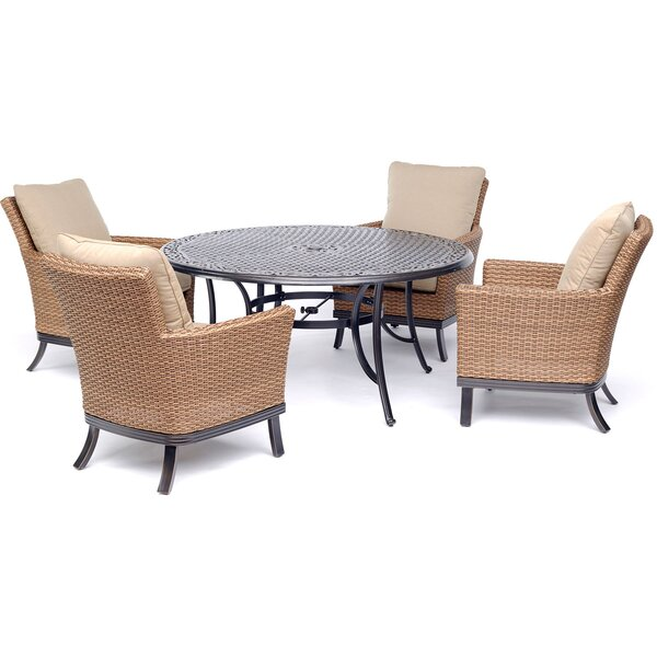 Pryor 5 Piece Dining Set with Cushions Bayou Breeze W000500323