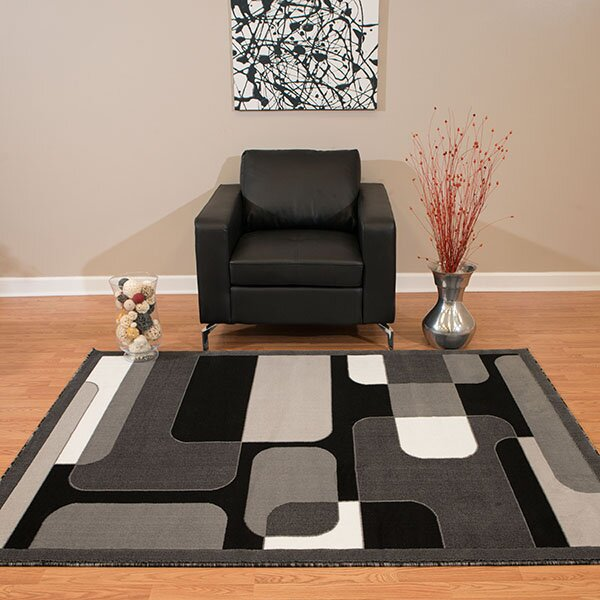 Eloise Gray/Black Area Rug by Ebern Designs